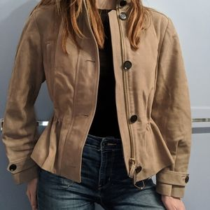 Burberry calfskin leather jacket in sand or beige